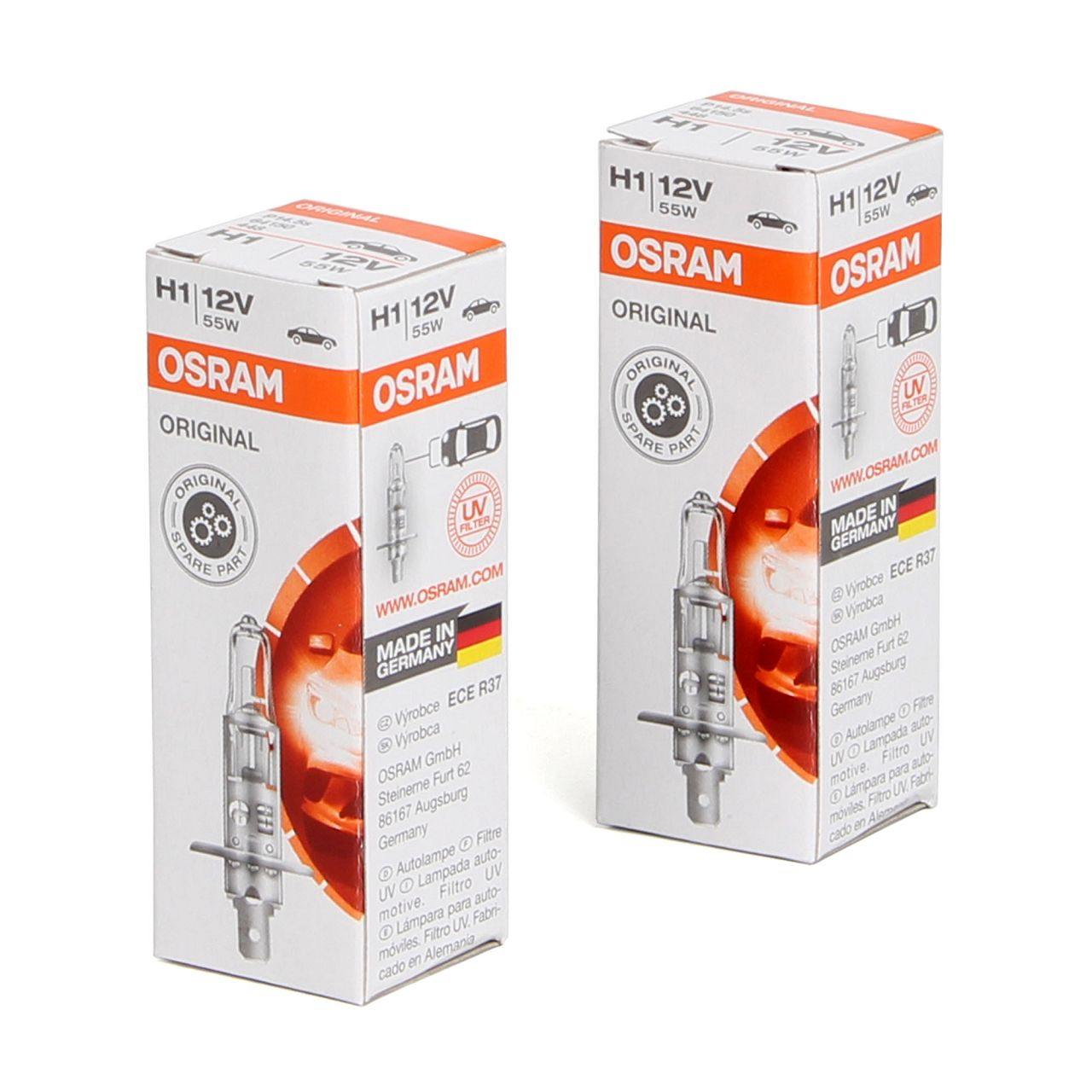 2x OSRAM Lampe Halogenlampe Glühlampe H1 ORIGINAL LINE 12V 55W P14,5s 64150