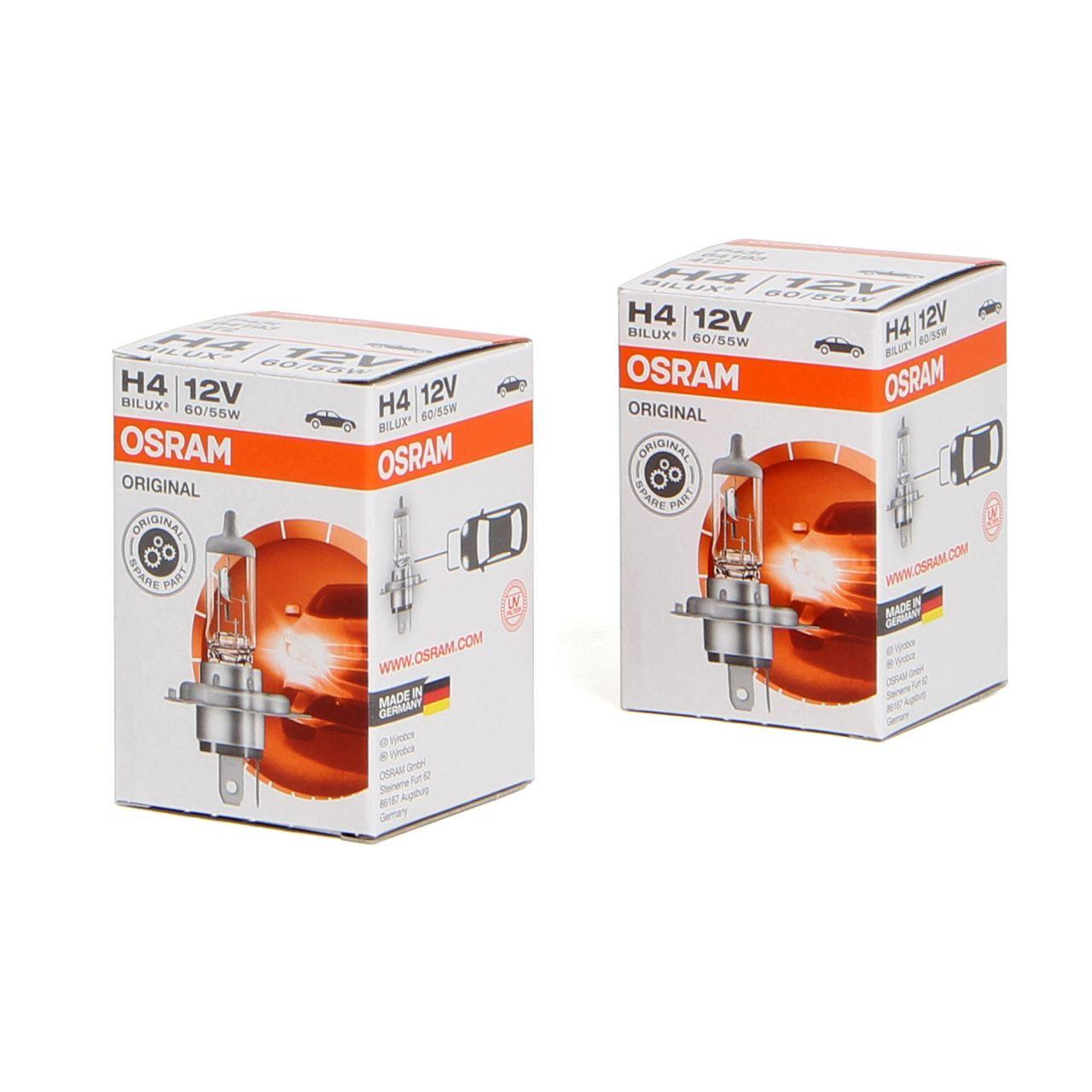 2x OSRAM Lampe Halogenlampe Glühlampe H4 ORIGINAL LINE 12V 60/55W P43t 64193