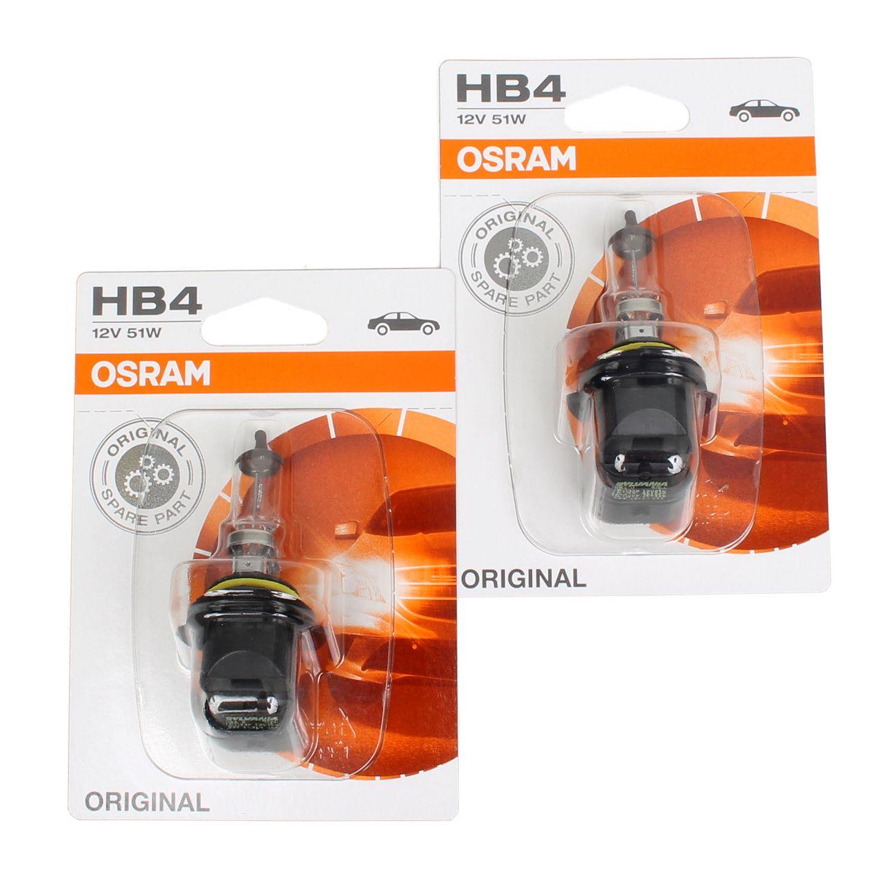 2x OSRAM Halogenlampe HB4 ORIGINAL LINE 12V 51W P22d 9006-01B
