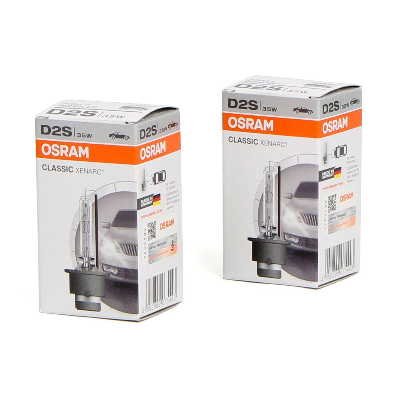 2x OSRAM 66240CLC Xenarc Xenon Brenner Lampe Scheinwerfer D2S CLASSIC 85V 35W