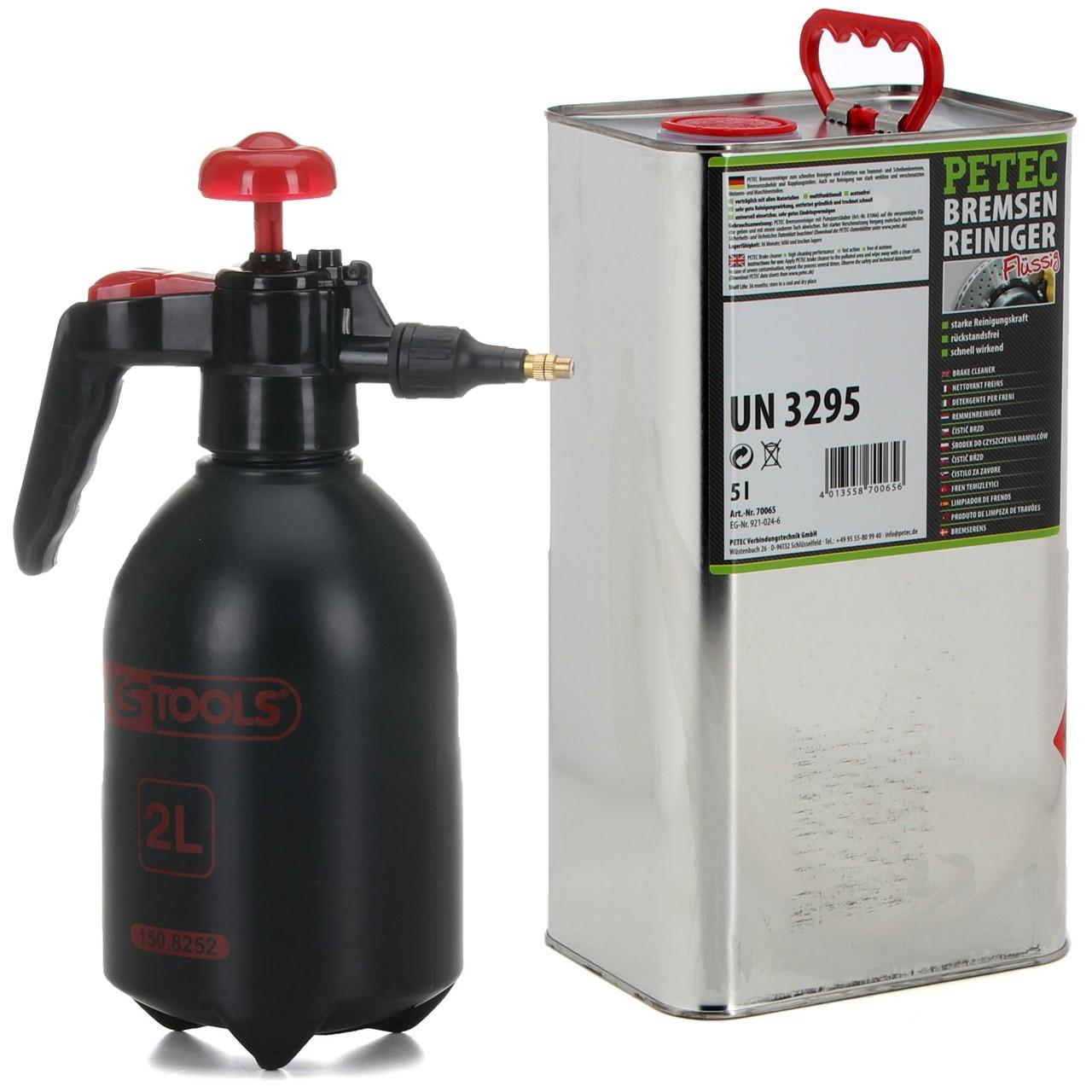 PETEC Bremsenreiniger Montagereiniger 5 L + KS TOOLS Druckpumpflasche 2 LITER