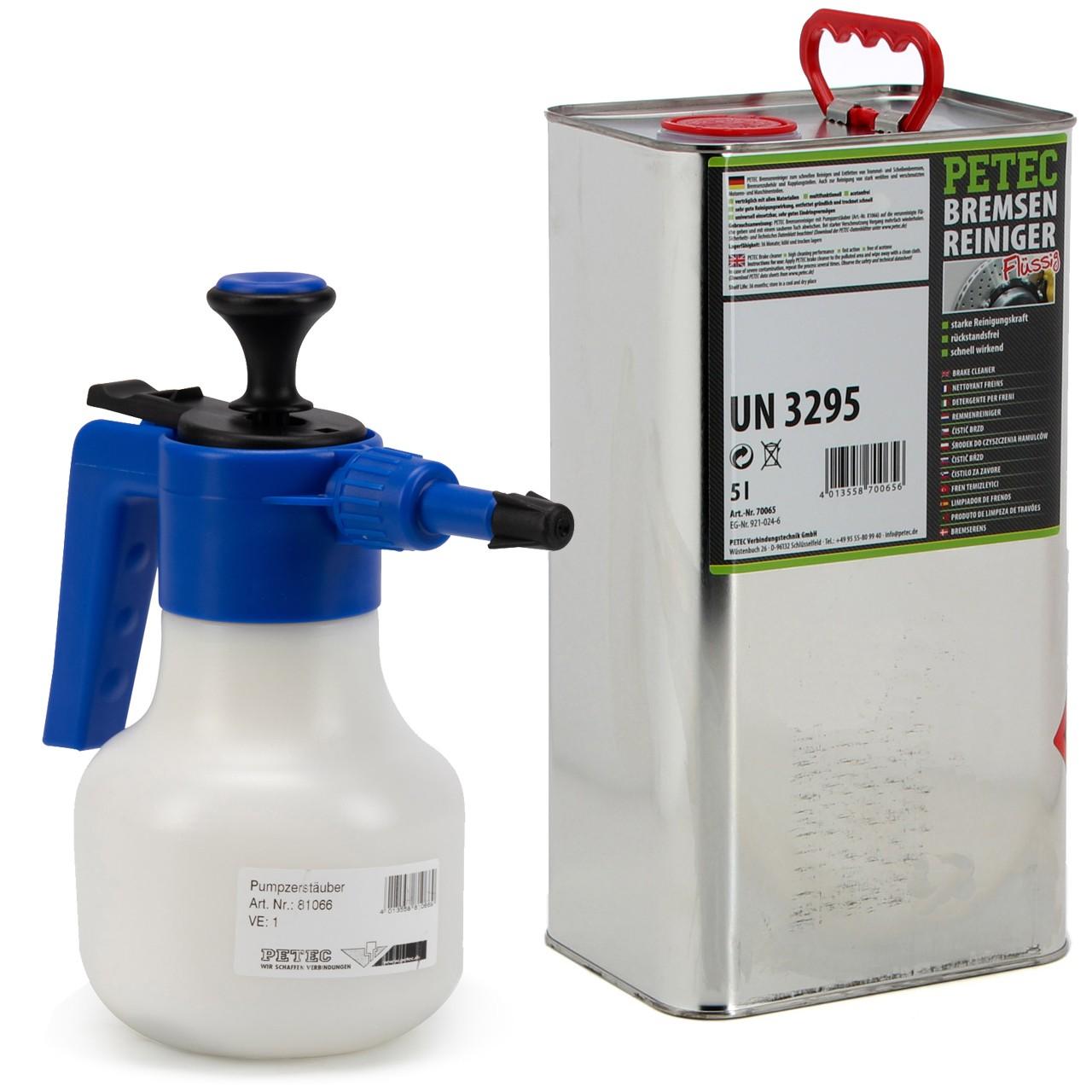 PETEC Bremsenreiniger Montagereiniger 5 Liter + PETEC Druckpumpflasche 1 LITER