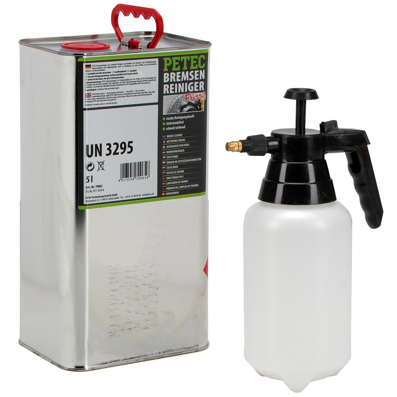 PETEC Bremsenreiniger Montagereiniger 5 L + PROPLUS Druckpumpflasche 1 LITER