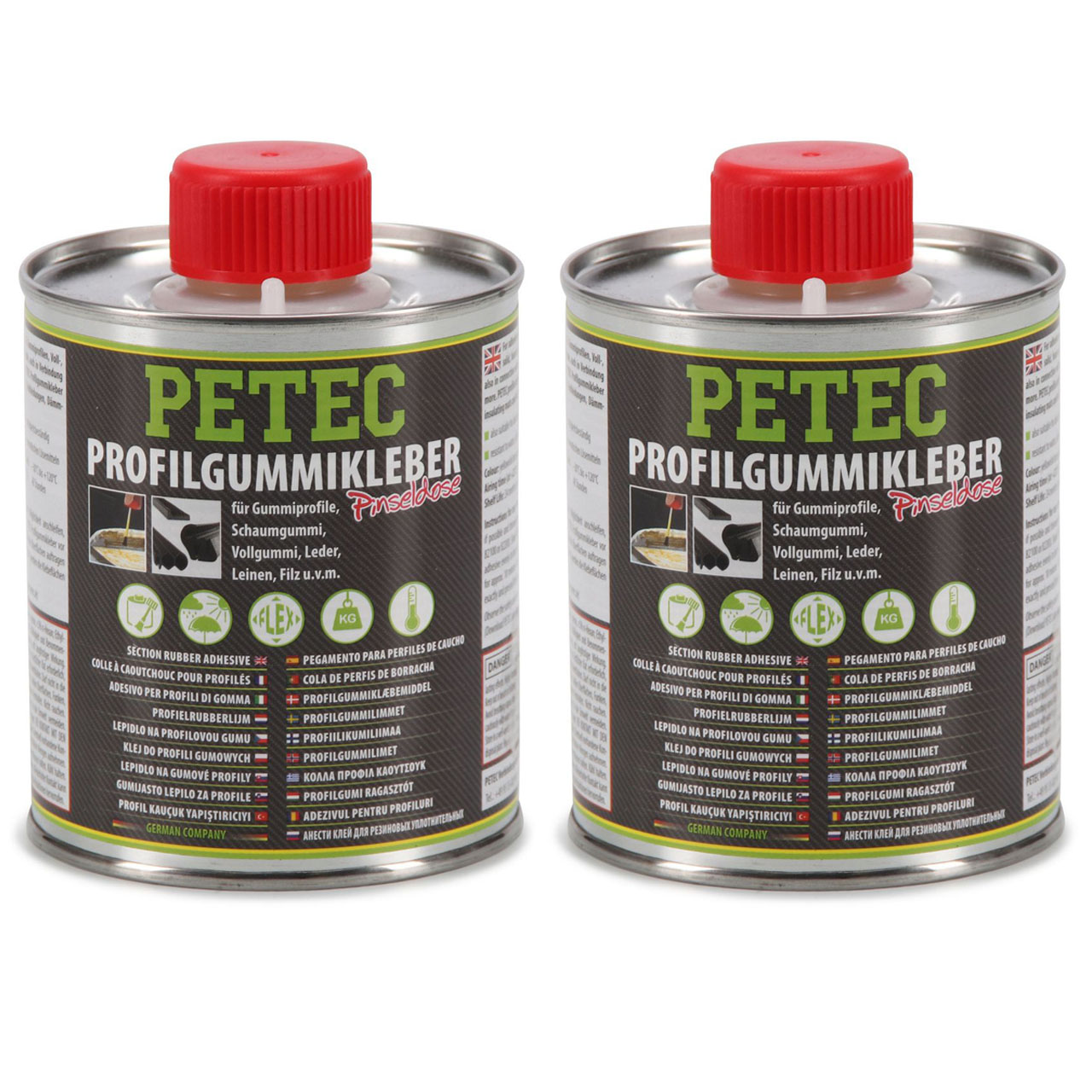 2x 350ml PETEC 9385 Gummiklebstoff Profilgummikleber Pinseldose GELB-TRANSPARENT