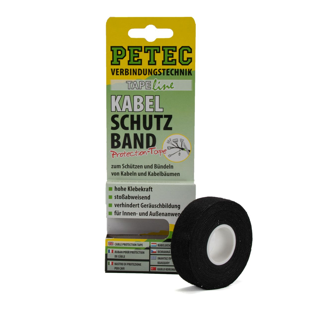 PETEC 87500 Kabelschutzband Klebeband schwarz 0,3mm Dicke 19mm x 10 m