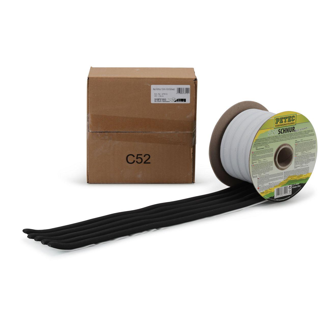 PETEC 87510 Karoschnur Karosseriedichtstoff Dichtschnur BUTYL SCHWARZ 10mm x 10m