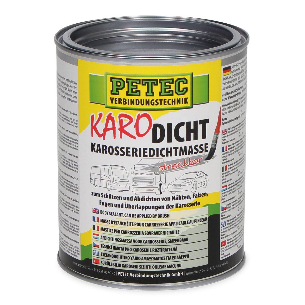 PETEC 94130 Karodicht Karosseriedichtmasse Dichtmasse streichbar 1000ml 1 L GRAU