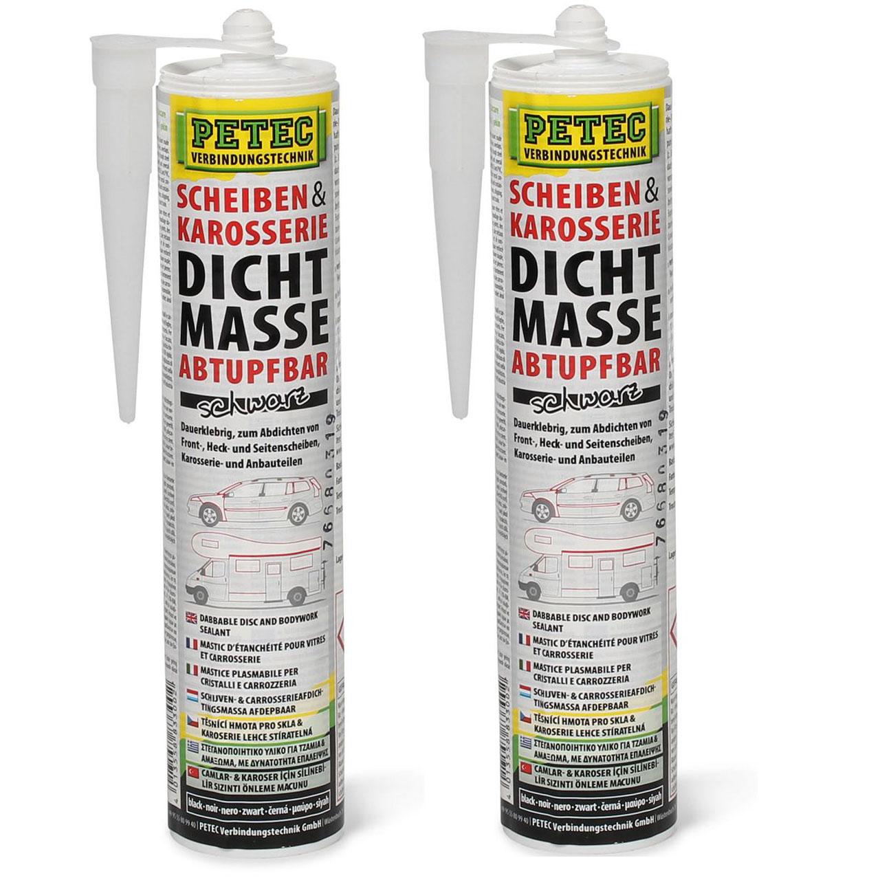PETEC 83300 Scheiben & Karosserie Dichtmasse Karosseriedichtstoff 620ml SCHWARZ