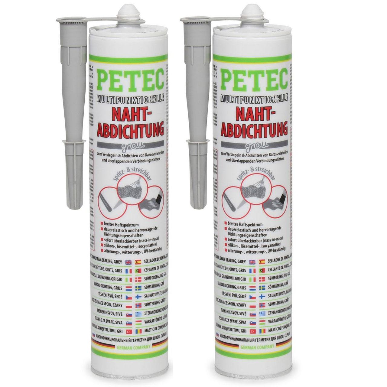 2x 310ml PETEC 94131 Multifunktionelle Nahtabdichtung Abdichtung Kartusche GRAU