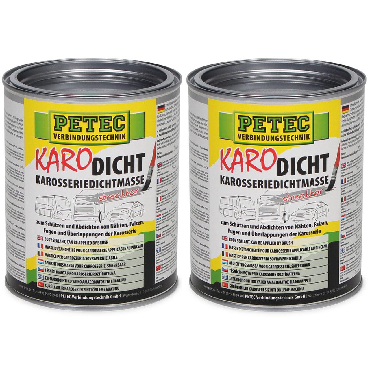 PETEC 94130 Karodicht Karosseriedichtmasse Dichtmasse streichbar 2000ml 2 L GRAU