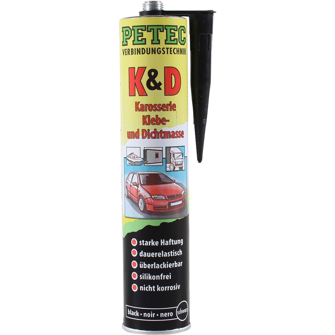 PETEC K&D Karosseriekleber / Dichtmasse SCHWARZ 310ml 94730