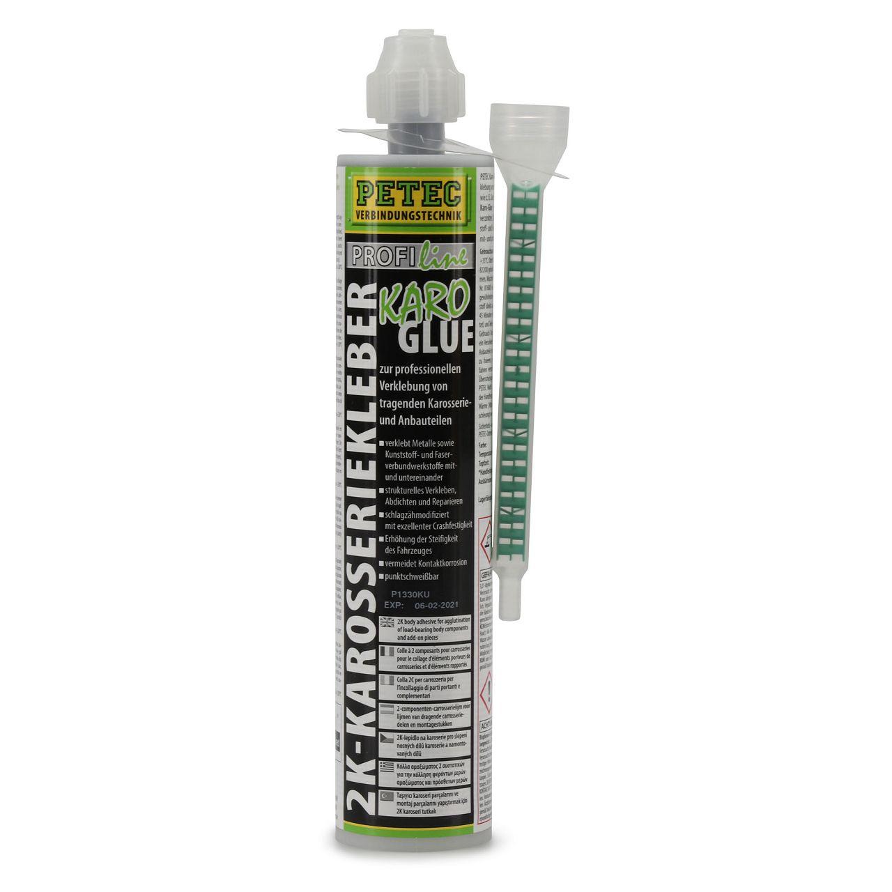 PETEC 98195 KaroGlue 2K-Karosseriekleber Karosserieklebstoff + Mischrohr 195ml