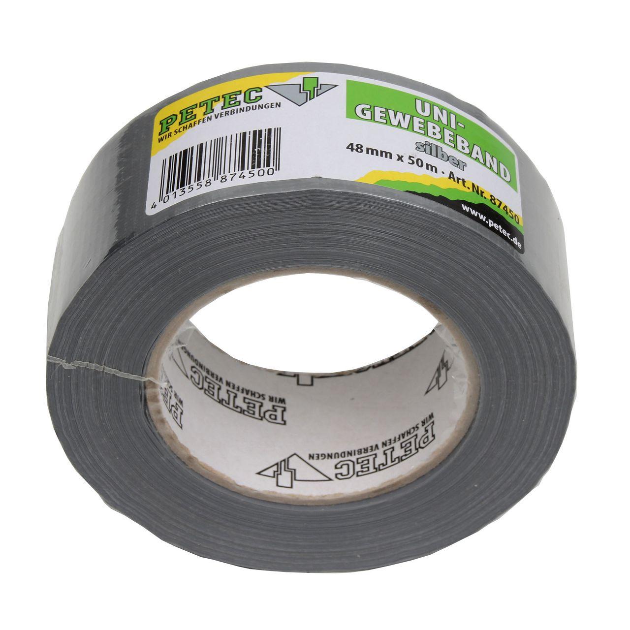 PETEC Uni-Gewebeband Klebeband silber 48mm x 50m 87450