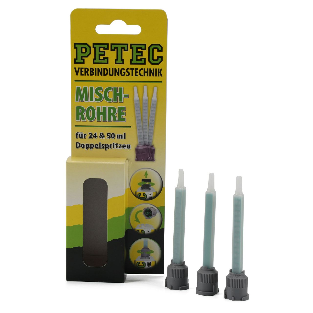 PETEC 98603 Mischrohre Statikmischrohre für 24 + 50ml Gebinde 3 Stück