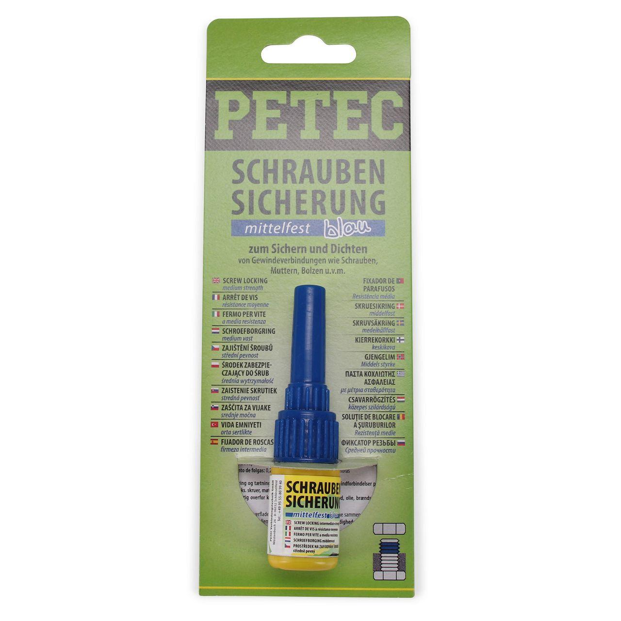 PETEC 91005 Schraubensicherung mittelfest Sicherungskleber Klebstoff 5g BLAU