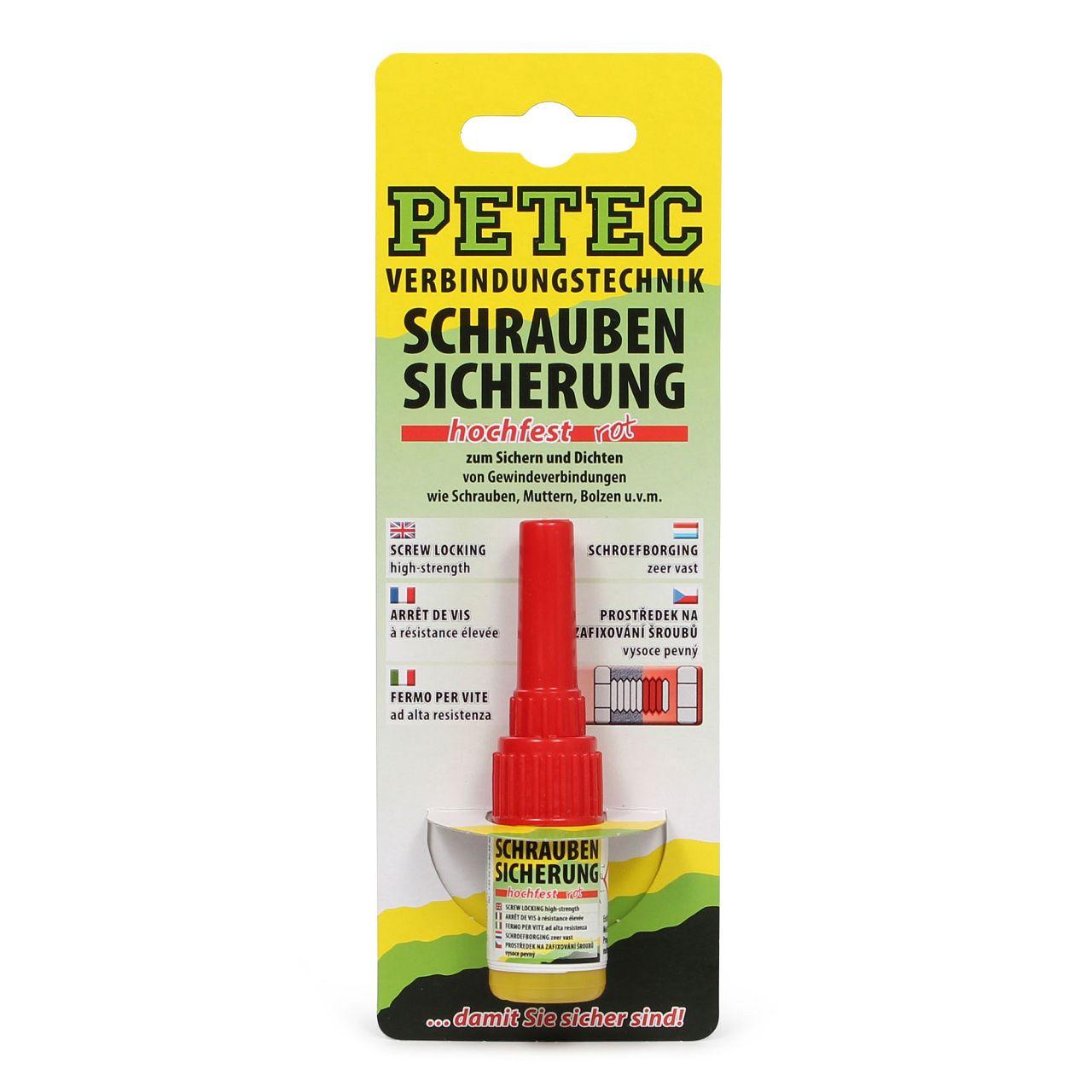 PETEC 92005 Schraubensicherung hochfest Sicherungskleber Klebstoff 5g ROT