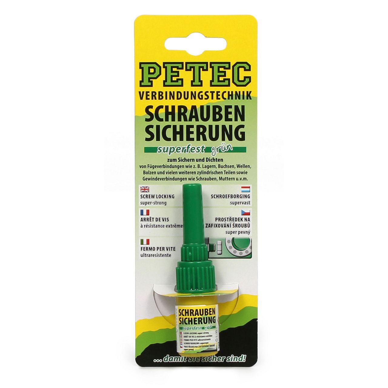 PETEC 93005 Schraubensicherung Superfest Sicherungskleber Klebstoff 5g GRÜN