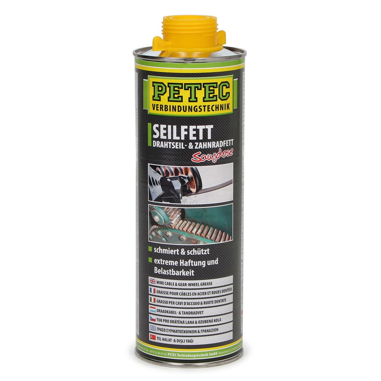 PETEC 73610 Seilfett Drahtseilfett Zahnradfett Saugdose Korrosionsschutz 1000ml