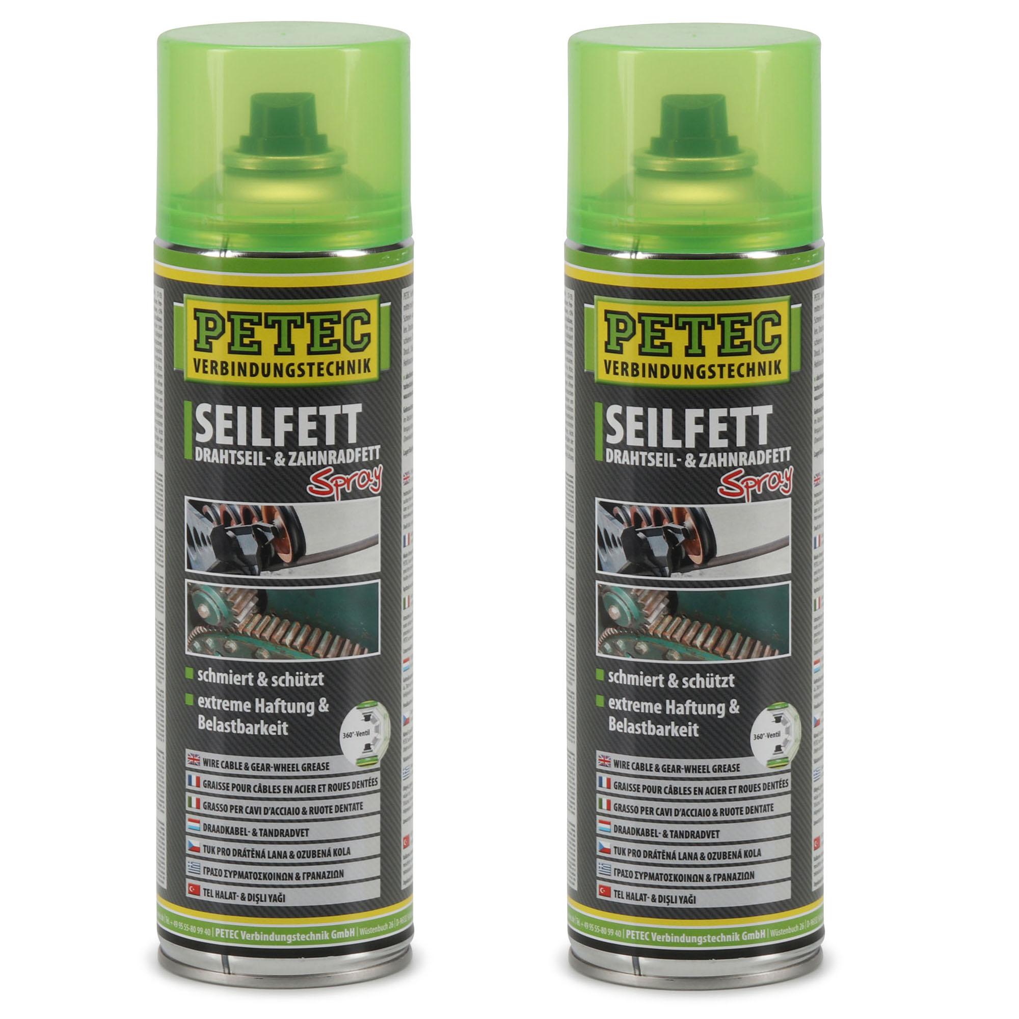 PETEC 71650 Seilfett Seilfettspray Drahtseilfett Zahnradfett Fettspray 2x 500ml