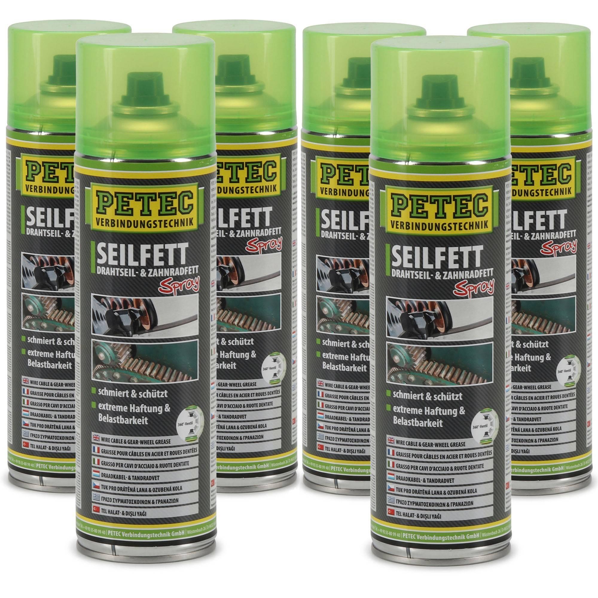 PETEC 71650 Seilfett Seilfettspray Drahtseilfett Zahnradfett Fettspray 6x 500ml