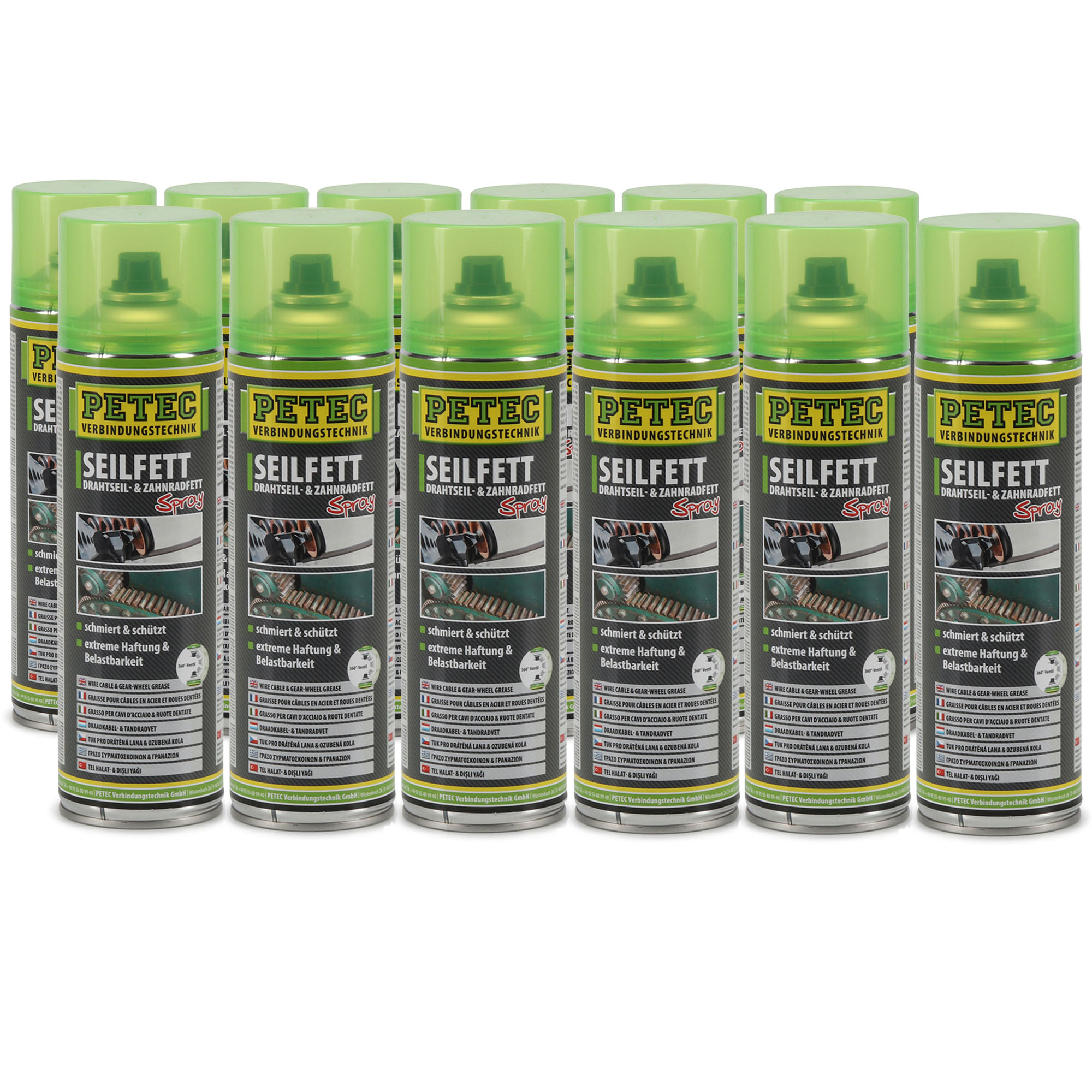 PETEC 71650 Seilfett Seilfettspray Drahtseilfett Zahnradfett Fettspray 12x 500ml