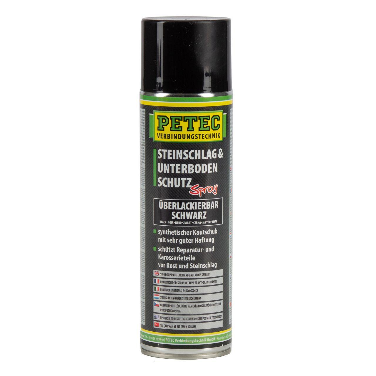 PETEC 73250 Steinschlagschutz & Unterbodenschutz Spray Schwarz 500 ml