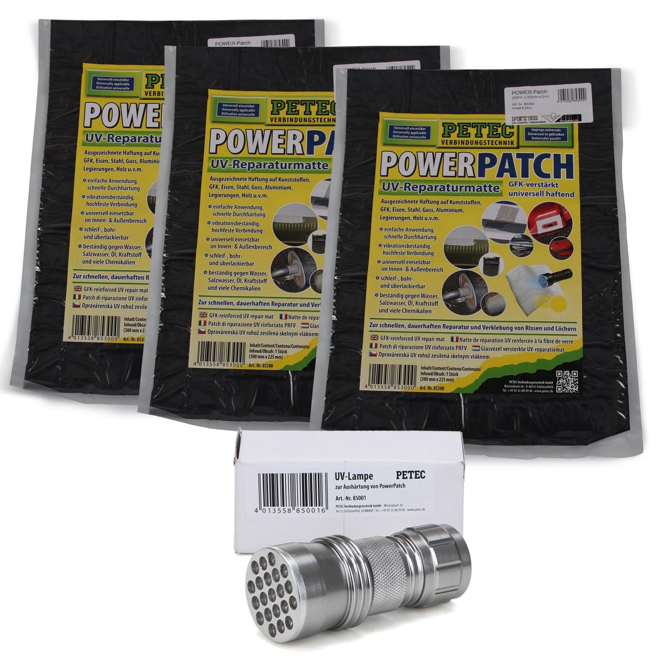 3x PETEC 85300 POWER PATCH Universalklebstoff UV-Reparaturmatte + 85001 UV-Lampe