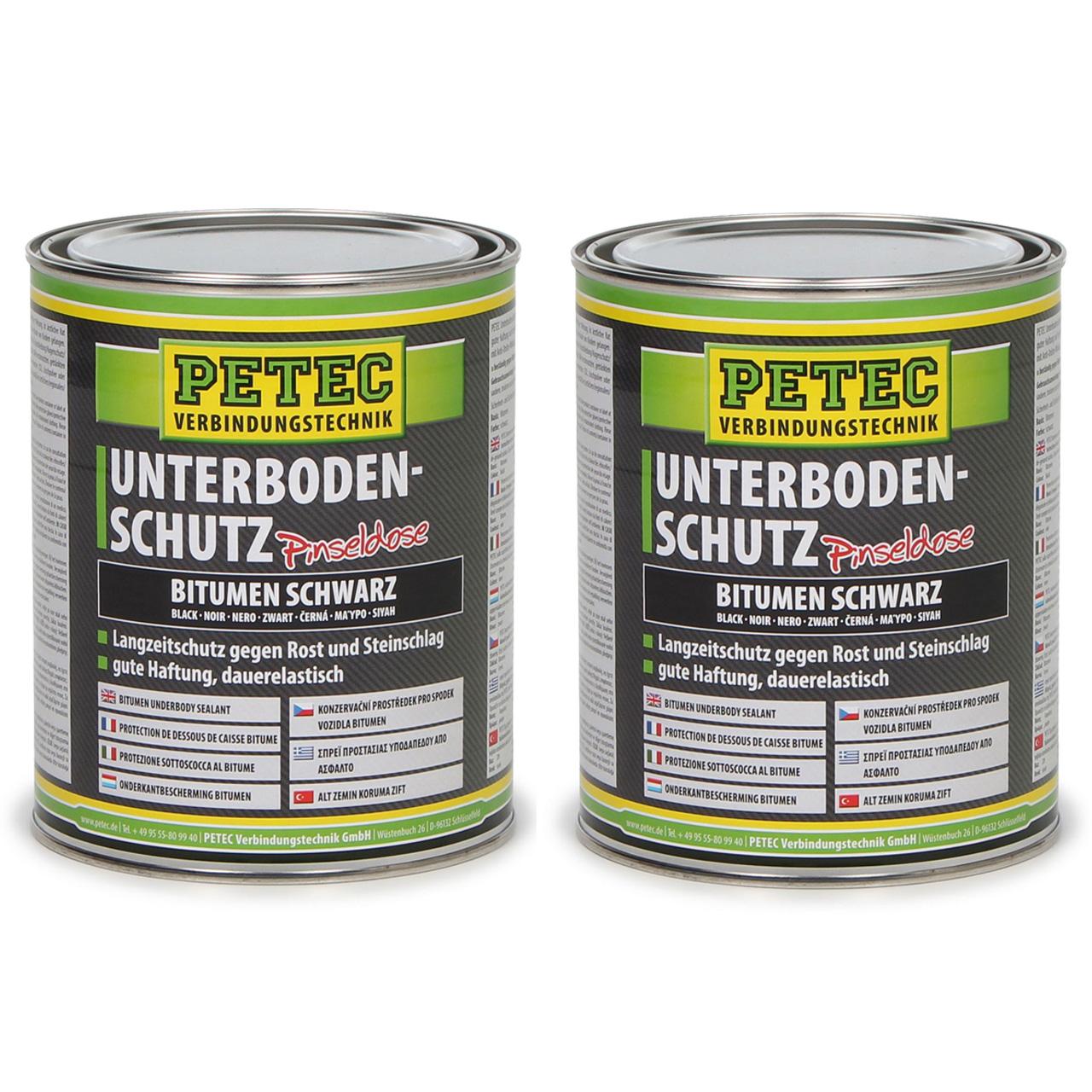 PETEC 73100 Unterbodenschutz Pinseldose BITUMEN SCHWARZ 2x 1000ml 1 Liter