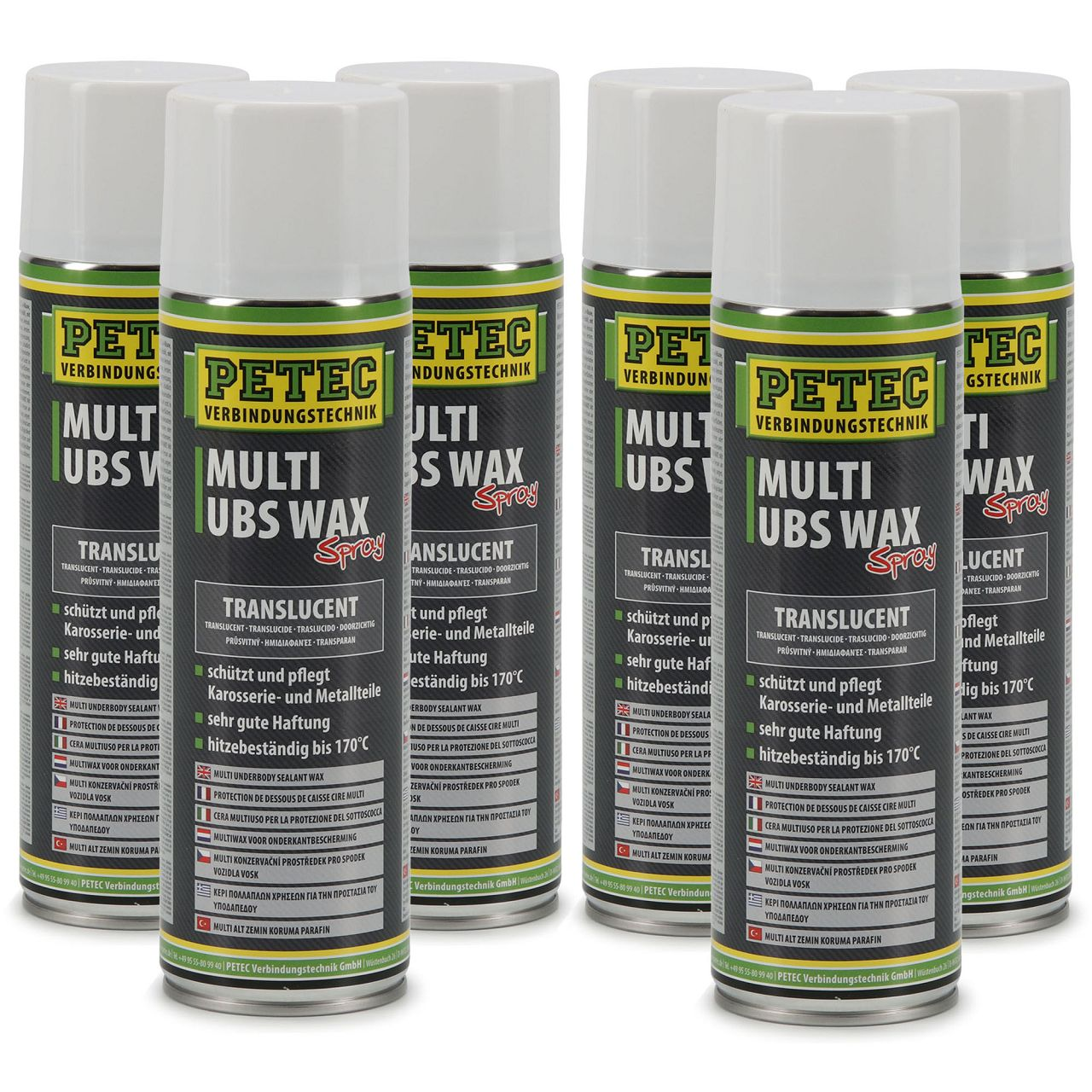 PETEC 73450 MULTI UBS WAX Spray Unterbodenschutz Korrosionsschutz 6x 500ml