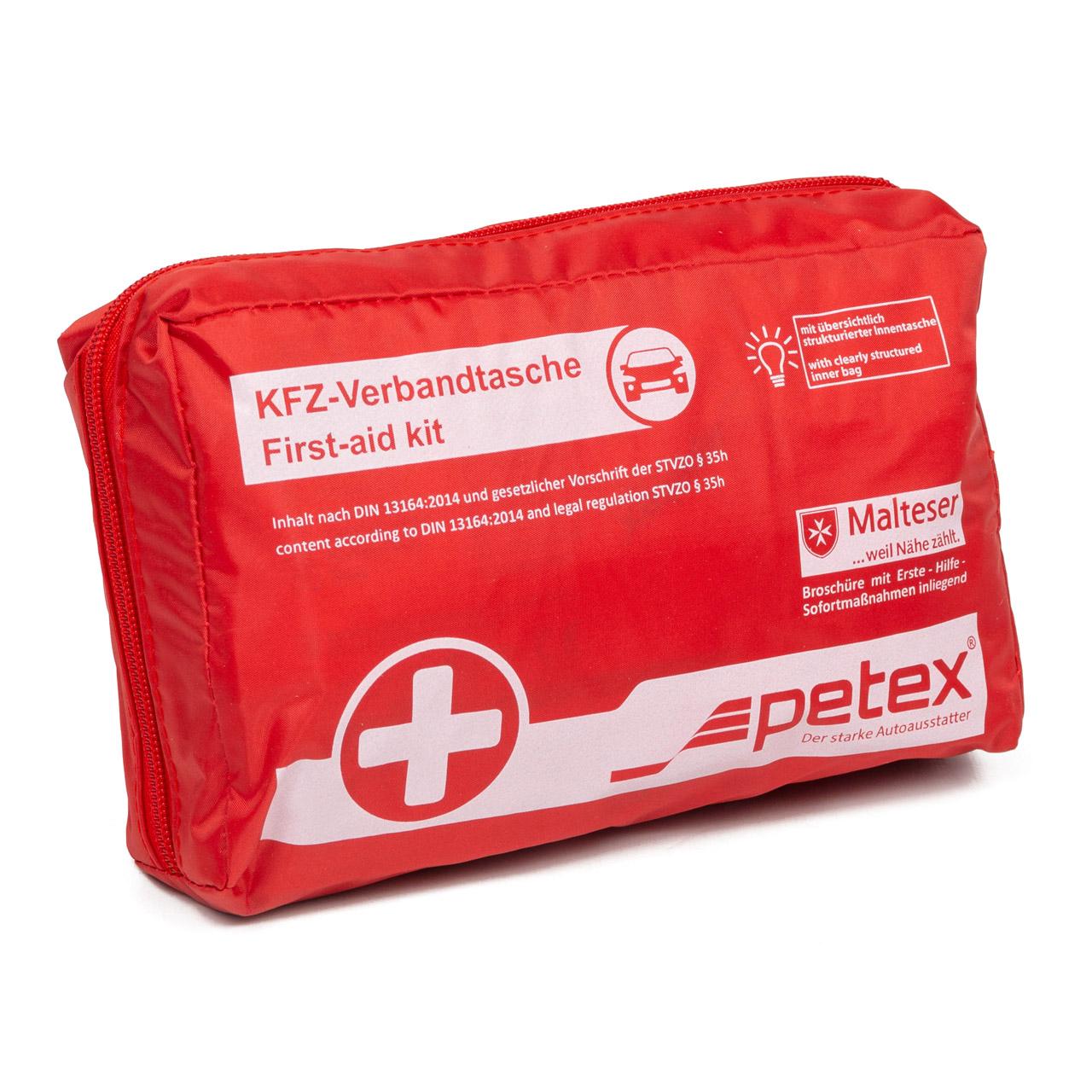 PETEX KFZ Auto PKW Verbandtasche Verbandskasten ROT Erste Hilfe (MHD 12.2025)