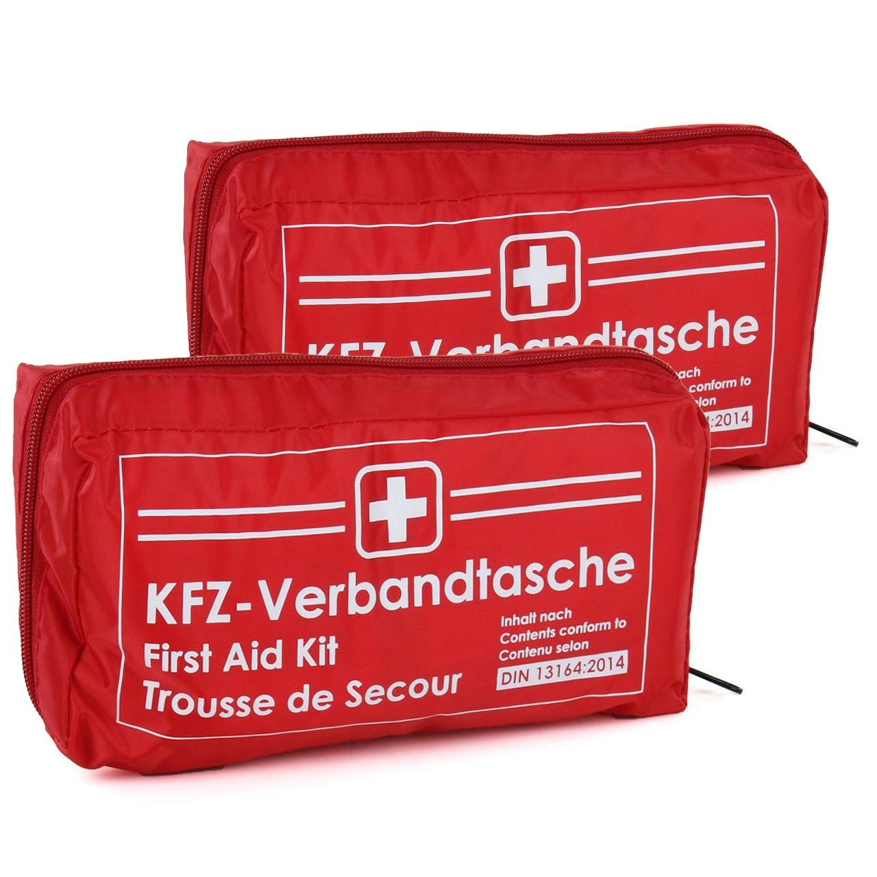 2x KFZ Auto Verbandkasten Verbandskasten ROT Erste Hilfe DIN 13164 MHD 12.2025