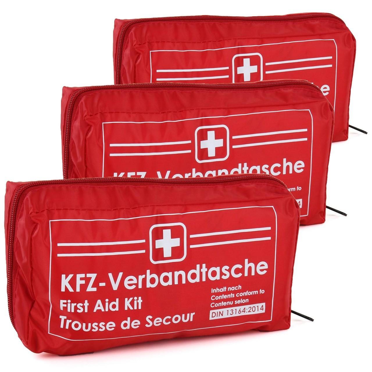 3x KFZ Auto Verbandkasten Verbandskasten ROT Erste Hilfe DIN 13164 MHD 12.2025