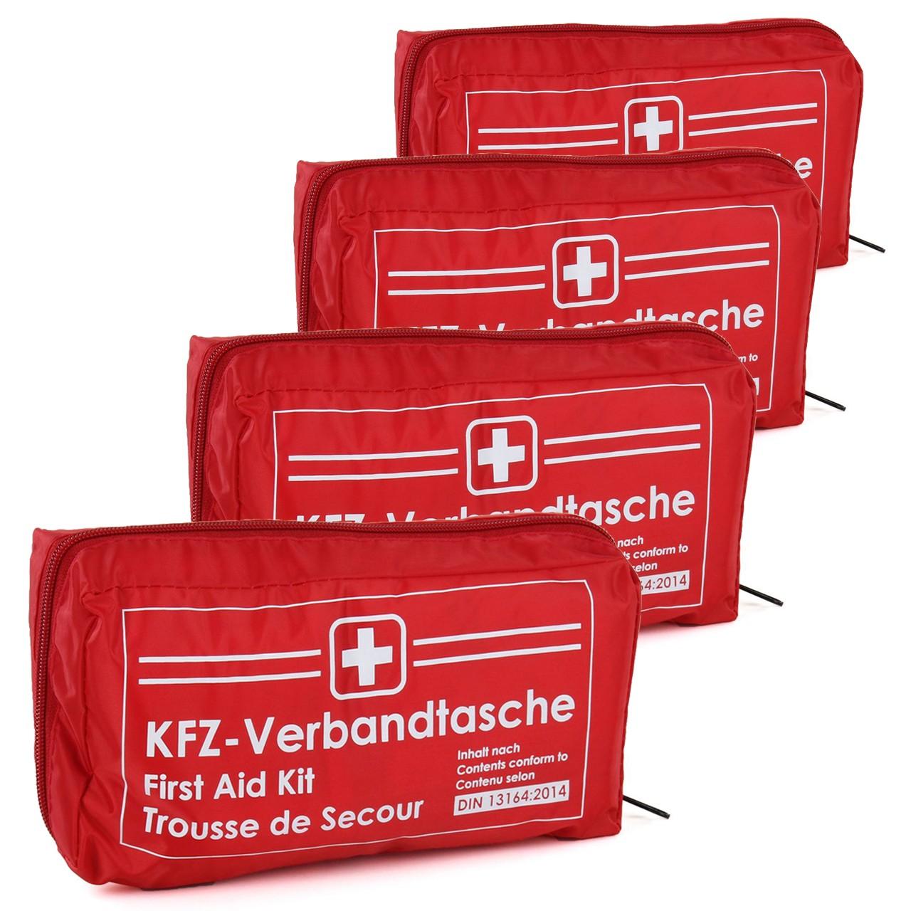 4x KFZ Auto Verbandkasten Verbandskasten ROT Erste Hilfe DIN 13164 MHD 12.2025