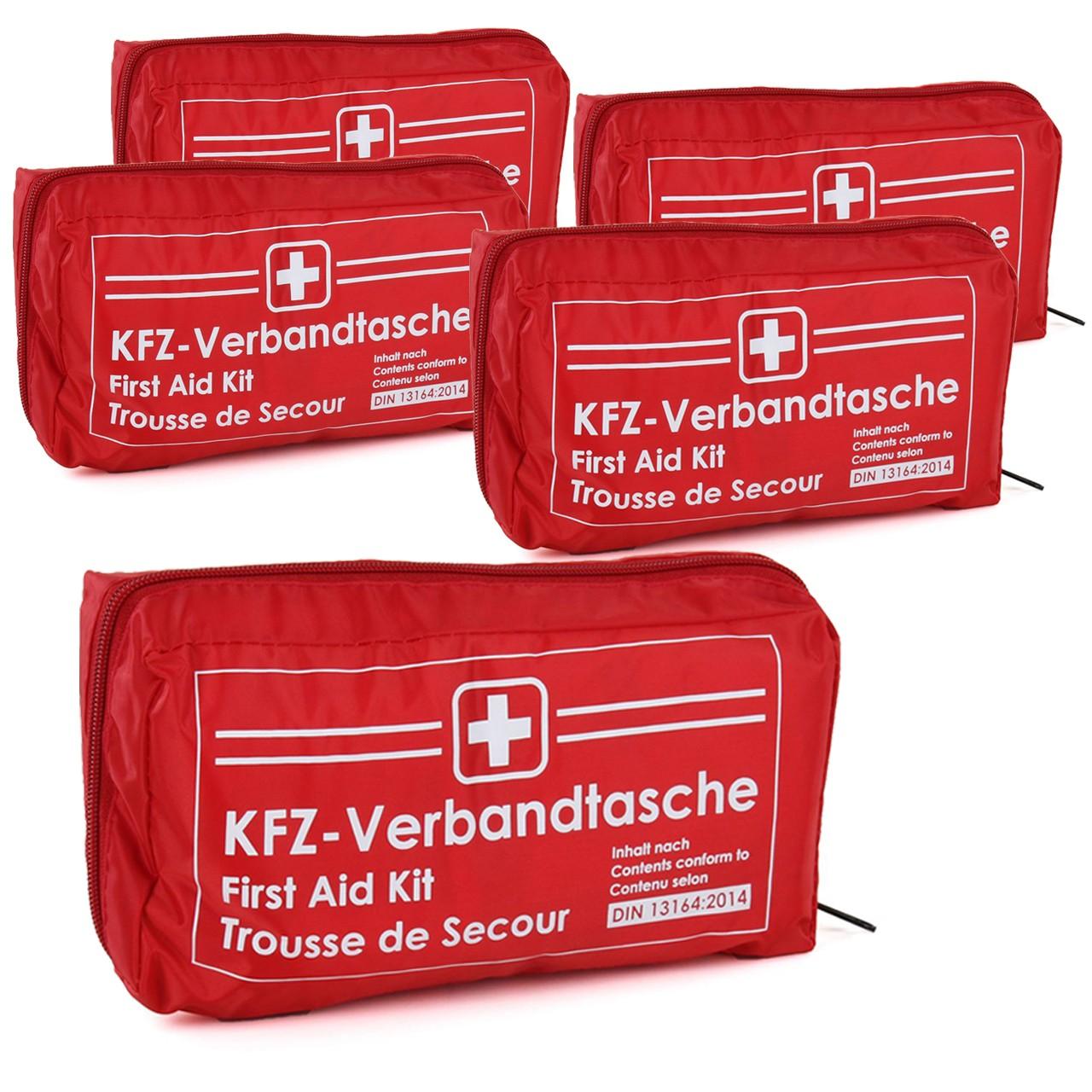 5x KFZ Auto Verbandkasten Verbandskasten ROT Erste Hilfe DIN 13164 MHD 12.2025