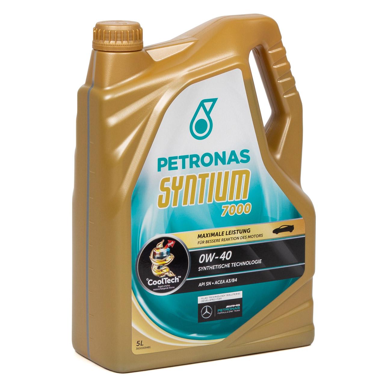 PETRONAS SYNTIUM 7000 Motoröl Öl 0W-40 0W40 MB 229.5 VW 502/505.00 - 5L 5 Liter