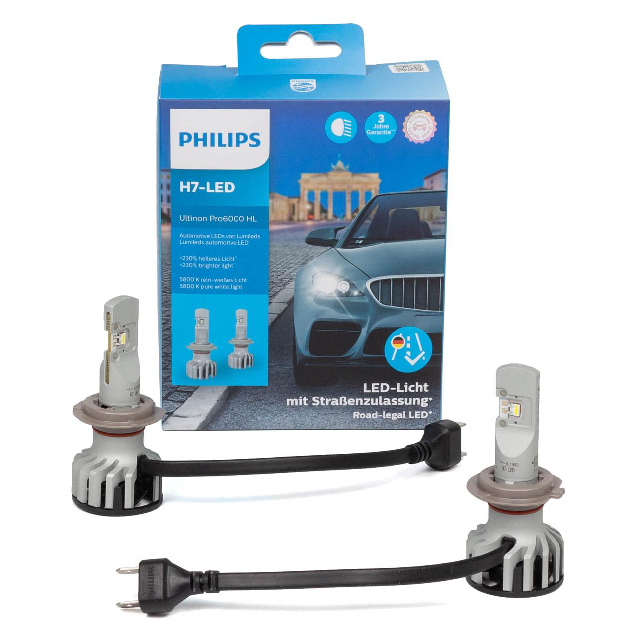 2x PHILIPS Ultinon Pro6000 H7 LED Lampe 11972X2 mit Straßenzulassung 12V +230% 5.800K