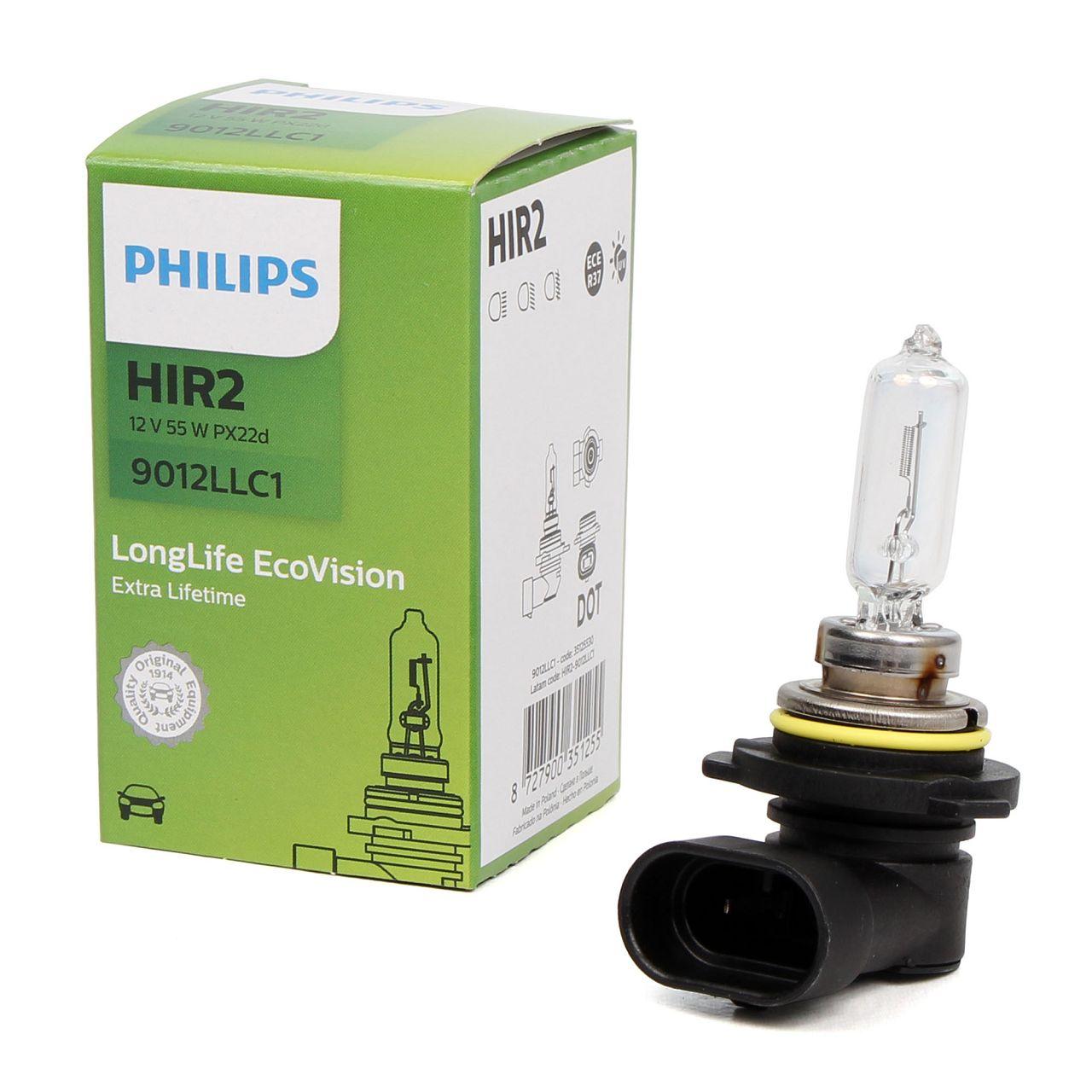 PHILIPS Halogenlampe Glühlampe HIR2 LONGLIFE 12V 55W PX22d