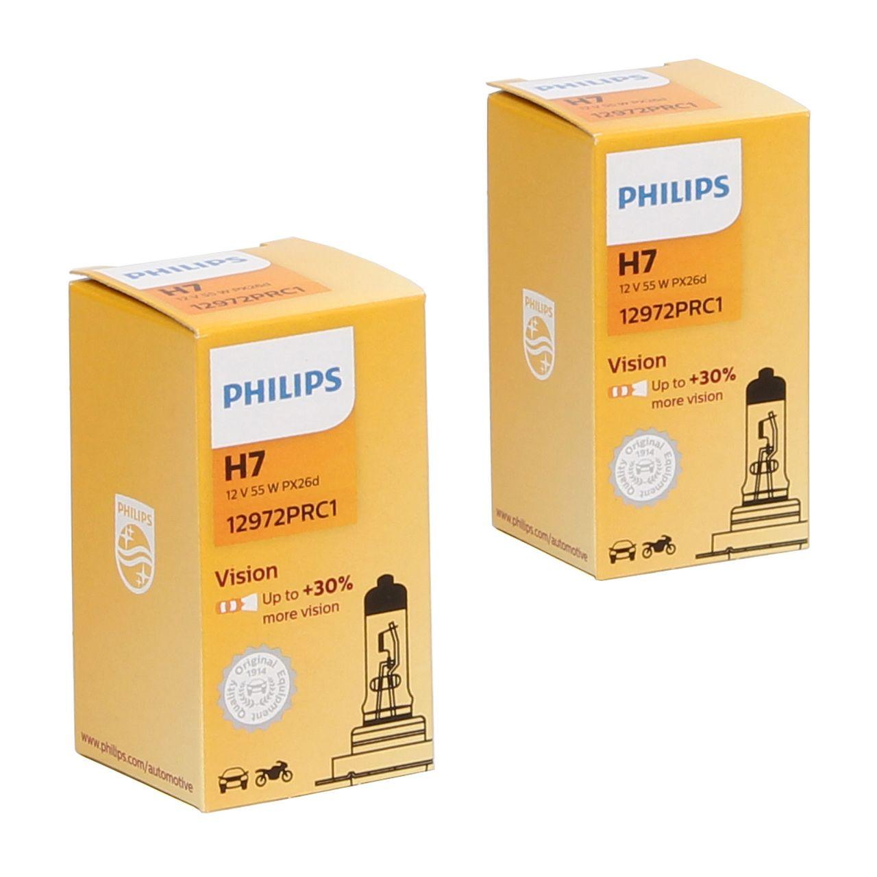 2x PHILIPS 12972PRC1 Halogenlampe Glühlampe H7 VISION +30% 12V 55W PX26d