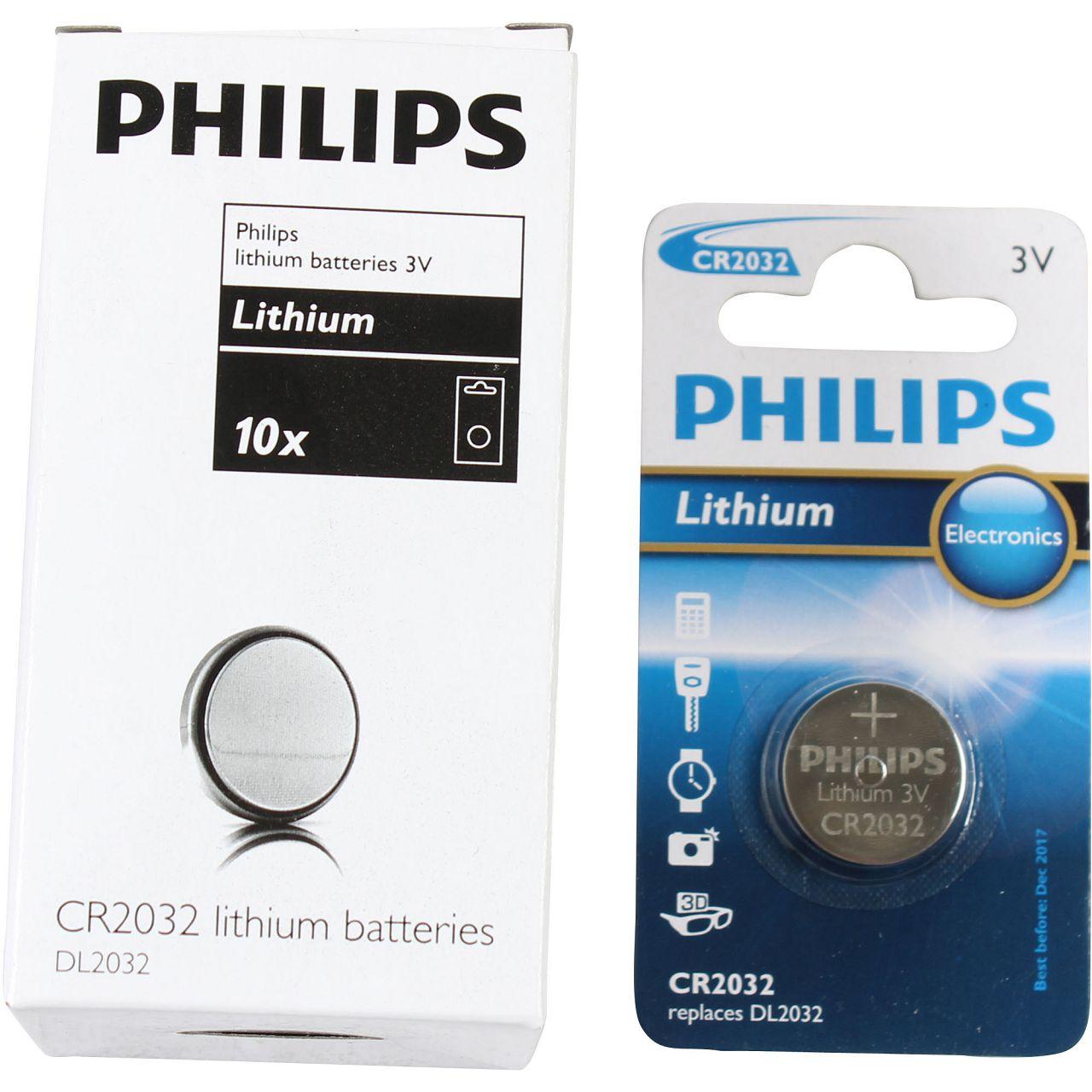 10x PHILIPS Knopfzelle Knopfbatterie Batterie Lithium 3V CR2032