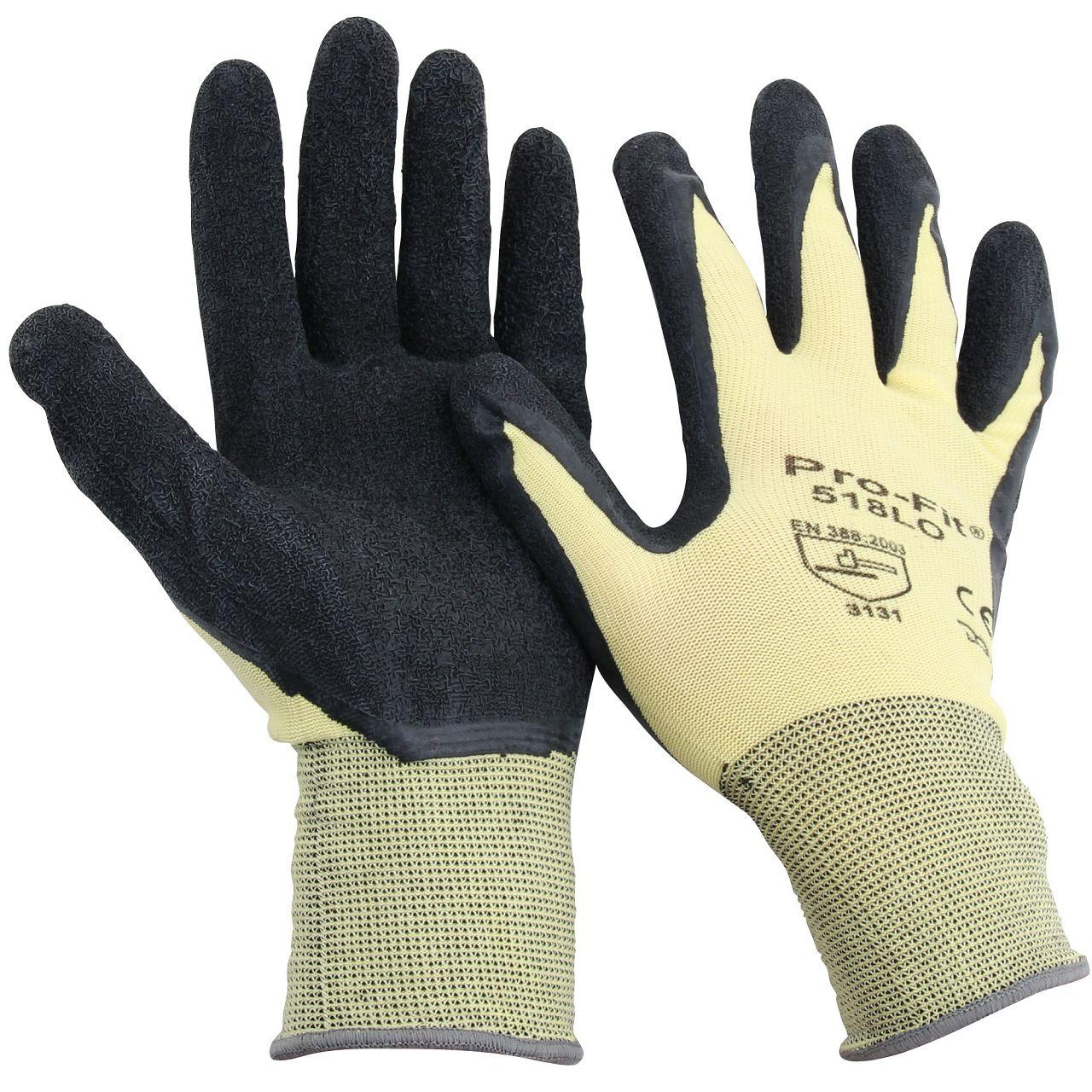 PRO-FIT 518LO Handschuhe Arbeitshandschuhe GELB SCHWARZ Größe 10 / XL (1 Paar)