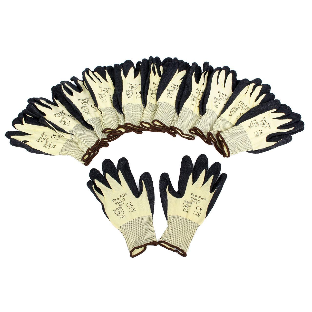 PRO-FIT 518LO Handschuhe Arbeitshandschuhe GELB SCHWARZ Größe 8 / M (12 Paar)