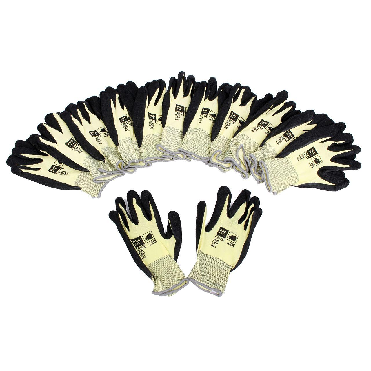 PRO-FIT 518LO Handschuhe Arbeitshandschuhe GELB SCHWARZ Größe 10 / XL (12 Paar)