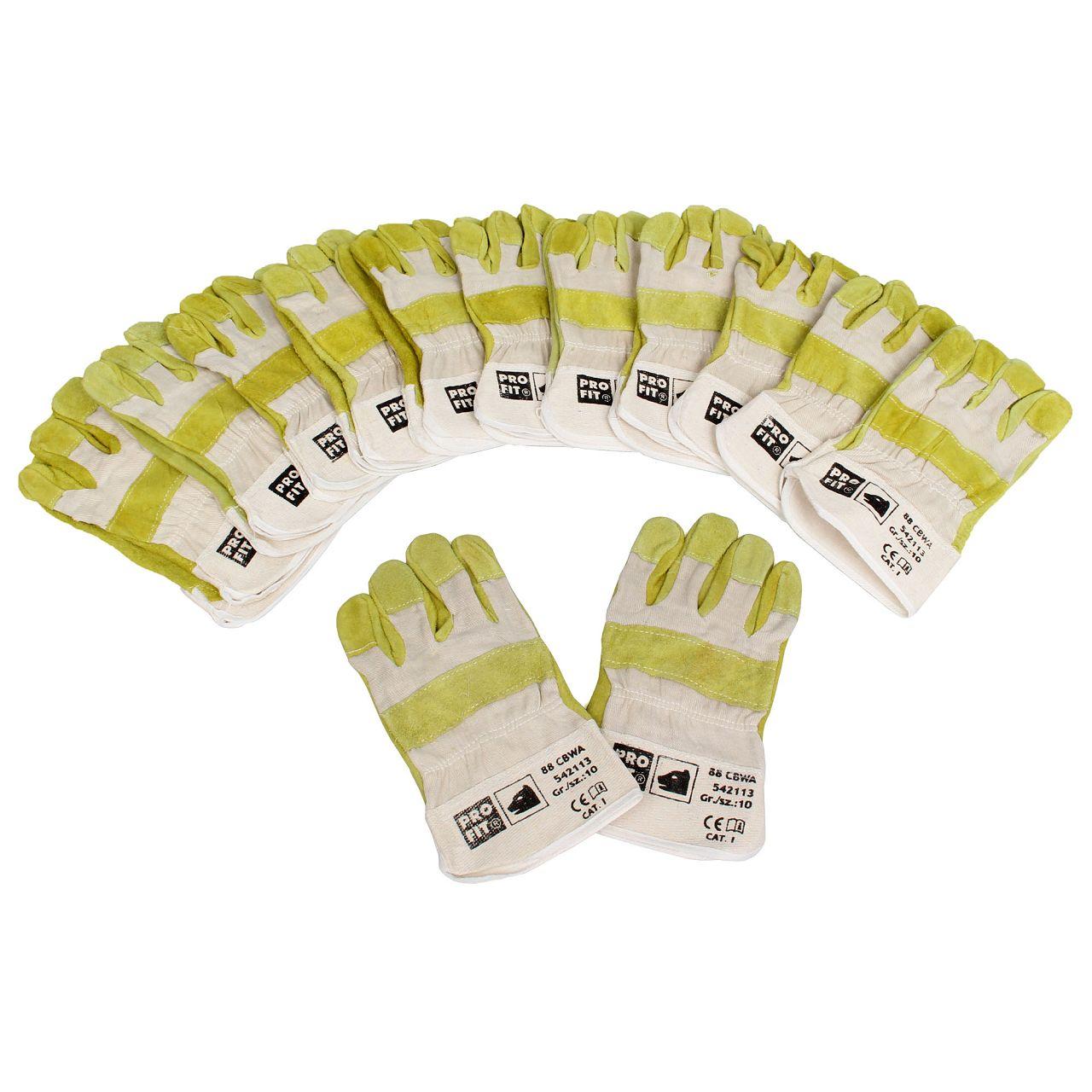 PRO-FIT Rindspaltleder-Handschuhe Arbeitshandschuhe Größe 10 / XL (12 Paar)