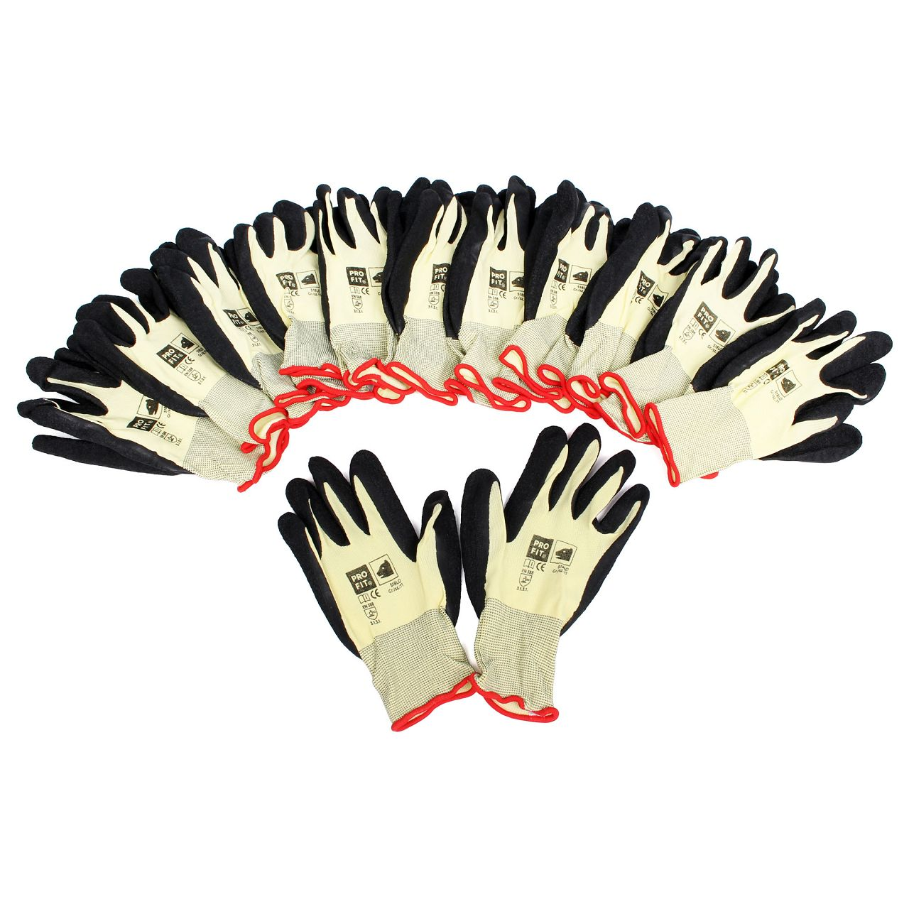 PRO-FIT 518LO Handschuhe Arbeitshandschuhe GELB SCHWARZ Größe 11 / XXL (12 Paar)