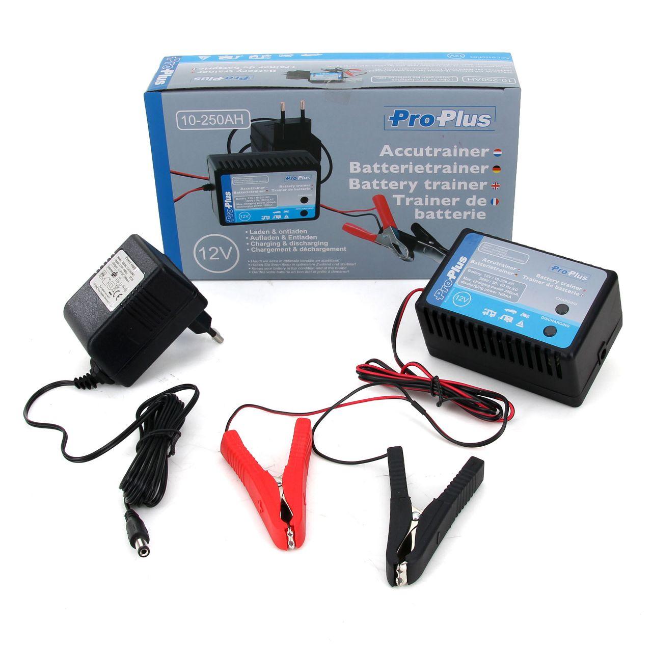 PRO PLUS Accutrainer Batterie-Trainer Ladegerät 12V 10-250AH