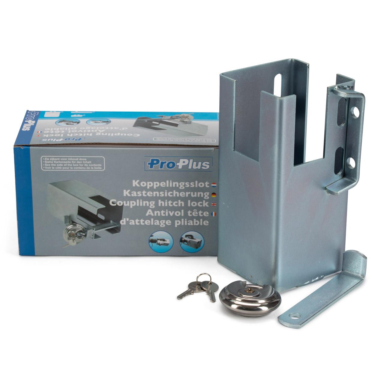PROPLUS Kastensicherung 110x110mm mit Rundbügel-Vorhangschloss