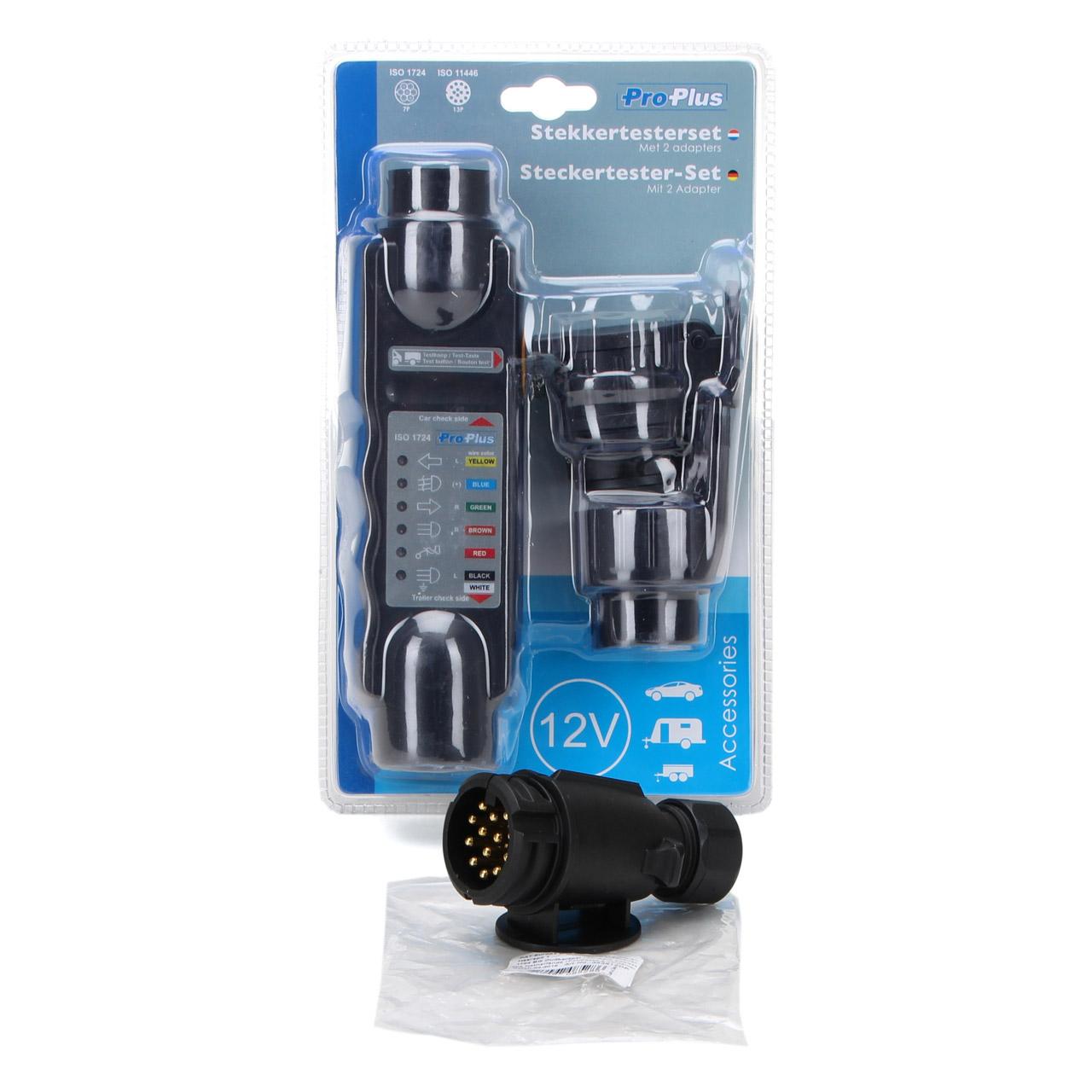 PROPLUS Steckertester-Set Beleuchtungstester + PROPLUS Anhängerstecker 13-polig