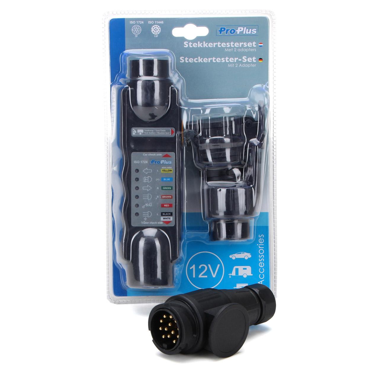 PROPLUS Steckertester-Set Beleuchtungstester + Anhängerstecker 13-polig