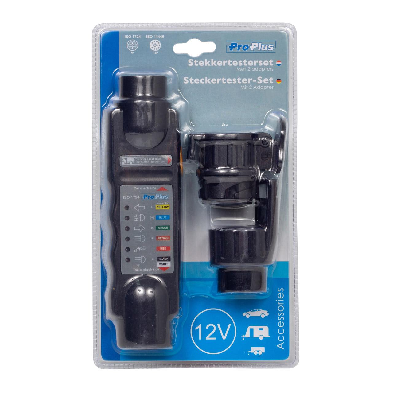 PROPLUS Steckertester-Set Beleuchtungstester mit 2 Adapter 7-polig 13-polig 12V
