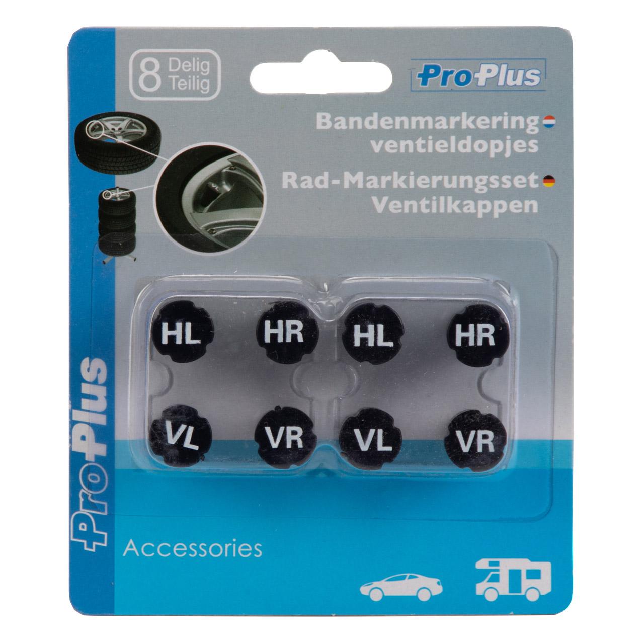 PROPLUS 390068 Rad-Markierungsset Ventilkappen Reifenmarkierung Marker 8-teilig